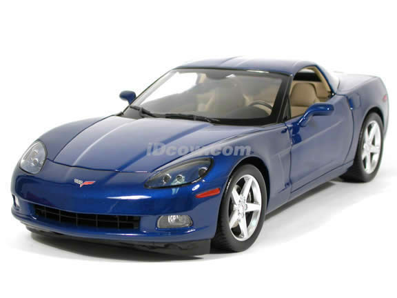 2005 Chevrolet Corvette C6 Coupe diecast model car 1:12 scale die cast by Hot Wheels - Blue