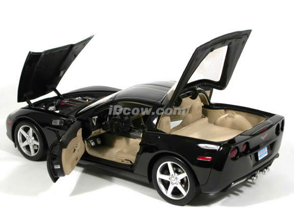 2005 Chevrolet Corvette C6 Coupe diecast model car 1:12 scale die cast by Hot Wheels - Black