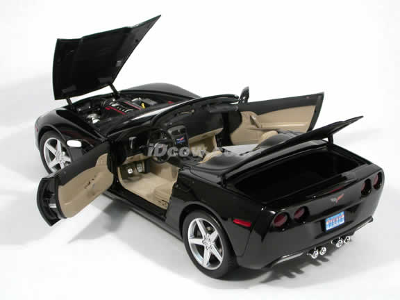 2005 Chevrolet Corvette C6 Convertible diecast model car 1:12 scale die cast by Hot Wheels - Black G2658