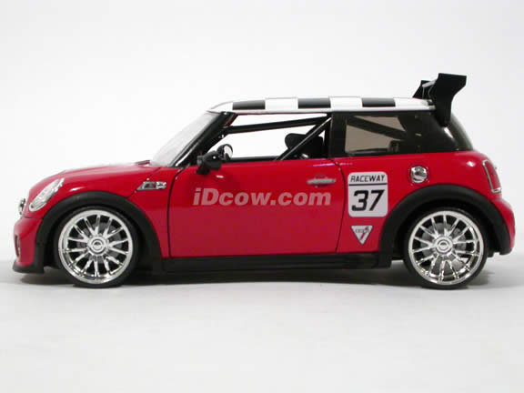 2007 Mini Cooper S diecast model car 1:24 scale die cast by Jada Toys - Red Racing
