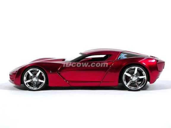 2009 Corvette Stingray diecast model car 1:24 scale die cast by Jada Toys - Metallic Red