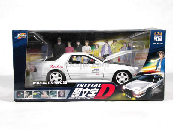 1990 Mazda RX-7 FC3S Initial D diecast model car 1:24 scale die cast by Jada Toys - White