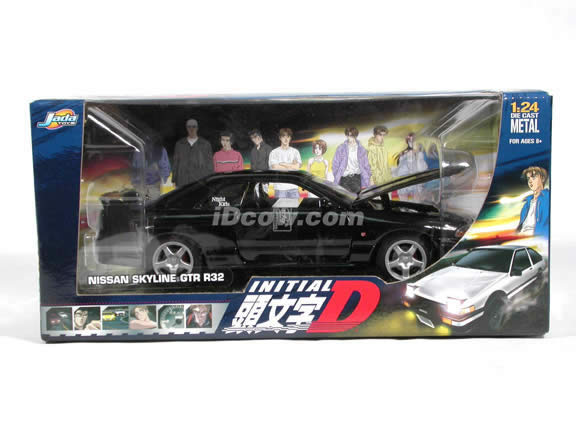 2002 Nissan Skyline GTR R32 Initial D diecast model car 1:24 scale die cast by Jada Toys - Black