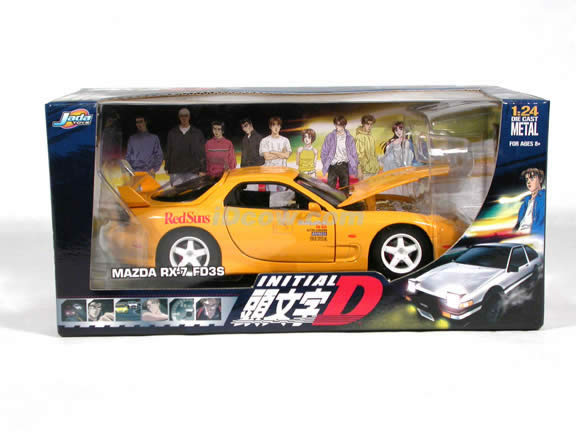 1995 Mazda RX-7 FD3S Initial D diecast model car 1:24 scale die cast by Jada Toys - Yellow