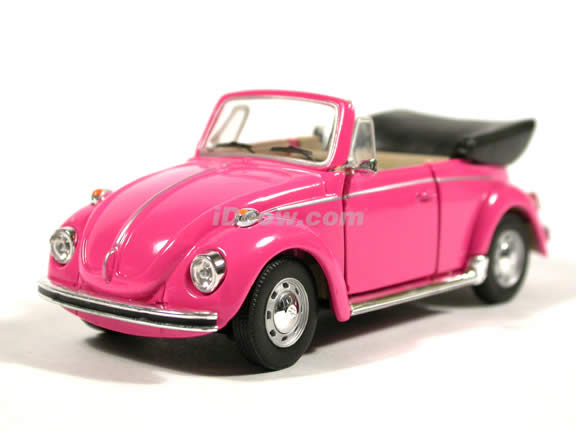 1970 Volkswagen Beetle Cabriolet diecast model car 1:43 scale die cast by Hongwell - Hot Pink