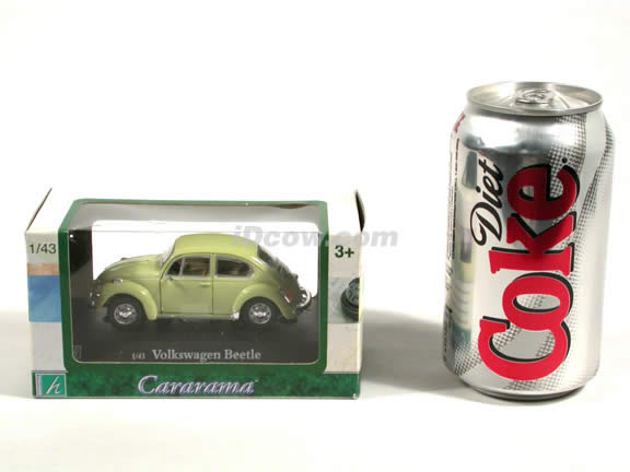 1970 Volkswagen Beetle diecast model car 1:43 scale die cast by Hongwell - Light Green
