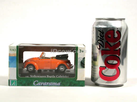 1970 Volkswagen Beetle Cabriolet diecast model car 1:43 scale die cast by Hongwell - Orange