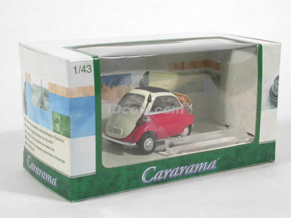 1958 BMW Isetta 250 diecast model car 1:43 scale die cast by Hongwell Cararama - Red