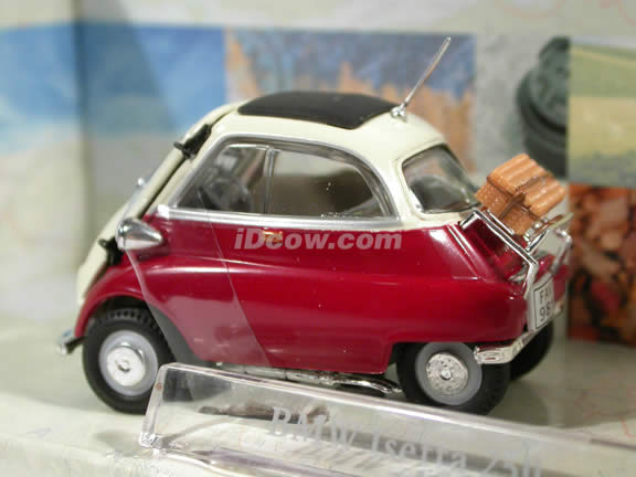 1958 BMW Isetta 250 diecast model car 1:43 scale die cast by Hongwell Cararama - Dark Red