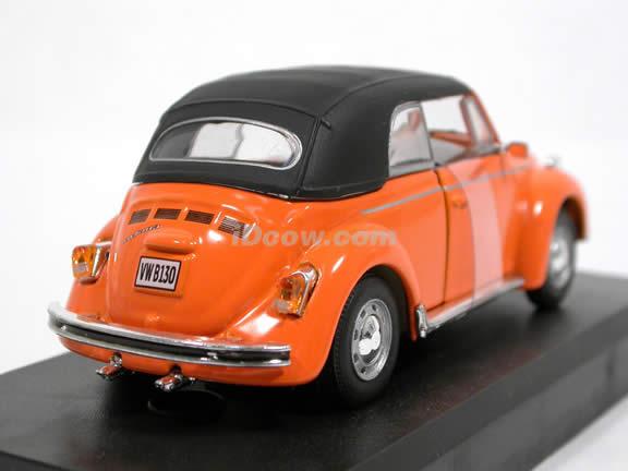 1970 Volkswagen Beetle Cabriolet diecast model car 1:43 scale die cast by Hongwell Cararama - Orange Top Up