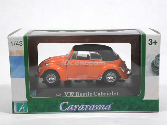 1970 Volkswagen Beetle Cabriolet diecast model car 1:43 scale die cast by Hongwell Cararama - Orange Top Up