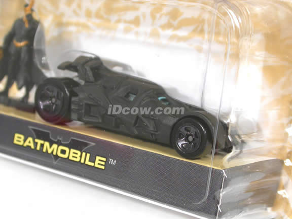 2005 Batman Begins Batmobile diecast model car 1:64 scale diecast by Hot Wheels - Black with Figure