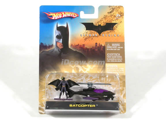 2005 Batman Begins Batcopter diecast model car 1:64 scale diecast by Hot Wheels - Black with Figure