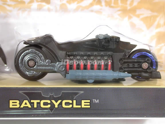 2005 Batman Begins Batcycle diecast model car 1:64 scale diecast by Hot Wheels - Black with Figure