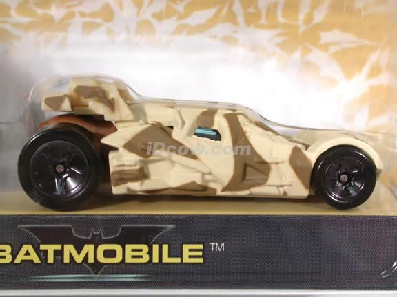 2005 Batman Begins Batmobile diecast model car 1:64 scale diecast by Hot Wheels - Desert Camouflage with Figure