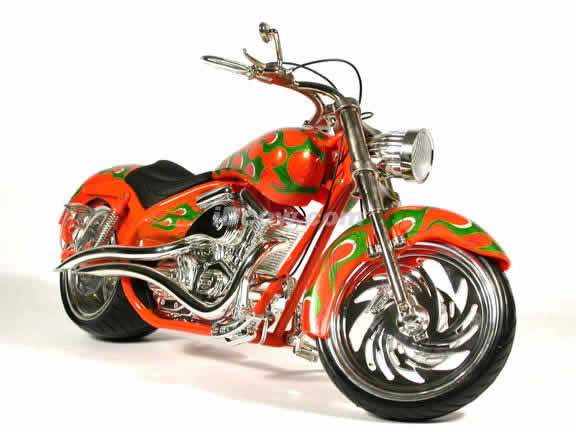 Arlen Ness Custom Diecast Chopper Model 1:6 scale die cast motorcycle by Toy Zone - Orange
