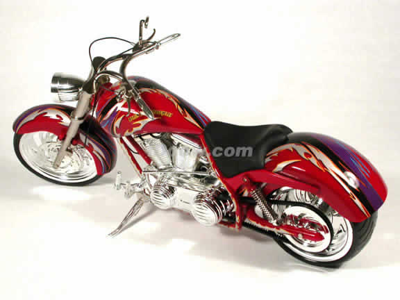 Arlen Ness Custom Diecast Chopper Model 1:6 scale die cast motorcycle by Toy Zone - Red