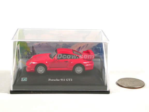 1998 Porsche 911 GT2 diecast model car 1:72 scale die cast by Hongwell - Red