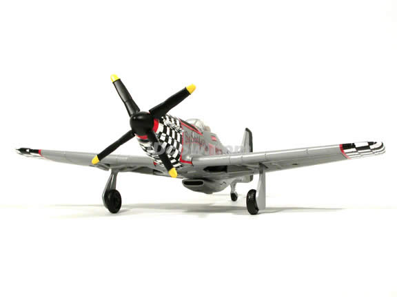 WWII P-51D Mustang diecast airplane model 1:48 scale die cast from Yat Ming - Black Checker Nose