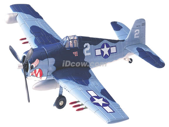 WWII F6F-5N Night Hellcat diecast airplane model 1:48 scale die cast from Yat Ming - Blue Camouflage