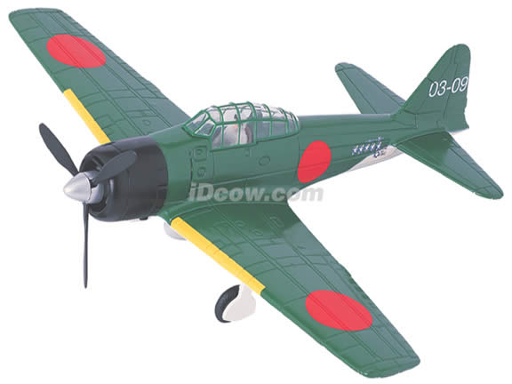 WWII Mitsubishi Zero diecast airplane model 1:48 scale die cast from Yat Ming - Green
