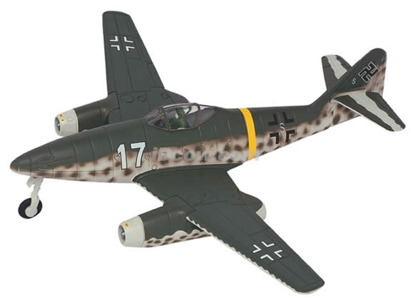 WWII Messerschmitt ME 262A diecast airplane model 1:48 scale die cast from Yat Ming - Grey 99098a