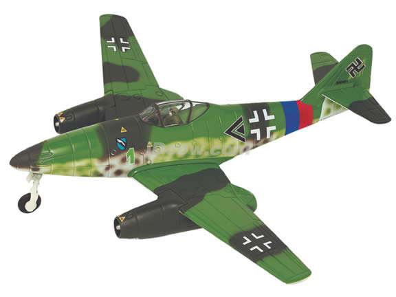 WWII Messerschmitt ME 262A diecast airplane model 1:48 scale die cast from Yat Ming - Green 99098b