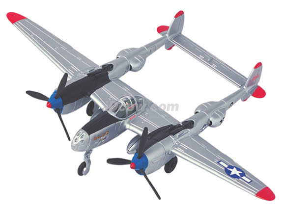 WWII Lockheed P-38 Lightning diecast airplane model 1:64 scale die cast from Yat Ming - Silver Black