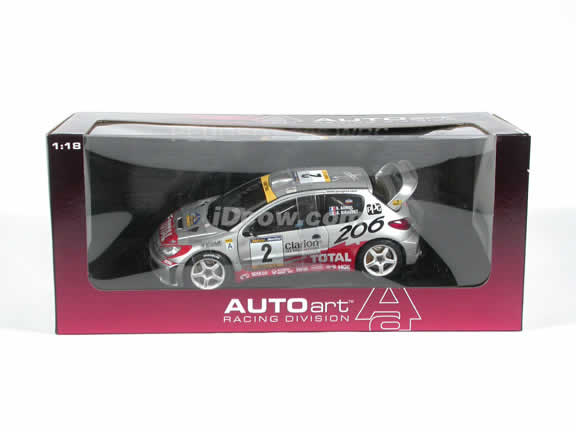 2001 Peugeot 206 WRC #2 - Rally Catalunya diecast model car 1:18 scale by AUTOart