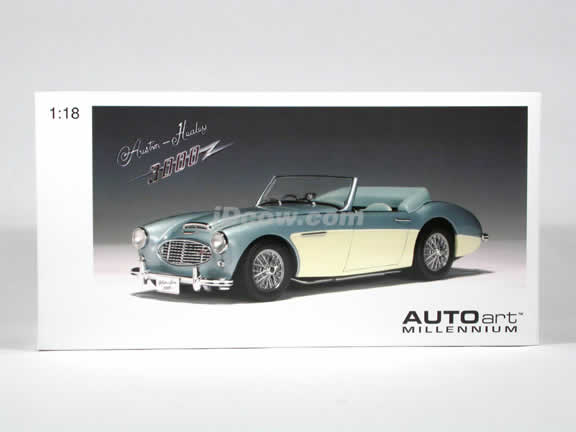 1959 Austin Healey 3000 MK I diecast model car 1:18 scale by AUTOart - Blue White