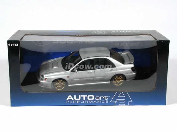 2001 Subaru Impreza WRX Sti New Age diecast model car 1:18 scale by AUTOart - Silver
