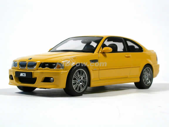 2002 BMW M3 diecast model car 1:18 scale by AUTOart - Yellow