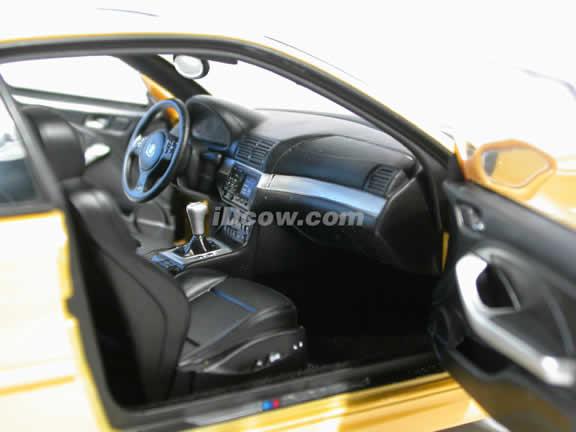 2002 BMW M3 diecast model car 1:18 scale by AUTOart - Yellow