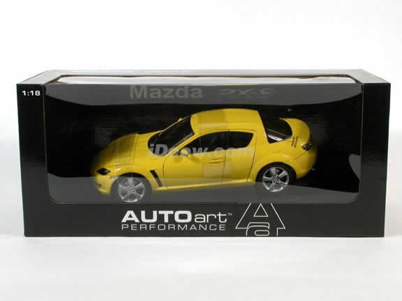 2003 Mazda RX-8 diecast model car 1:18 scale by AUTOart Die Cast - Yellow RHD