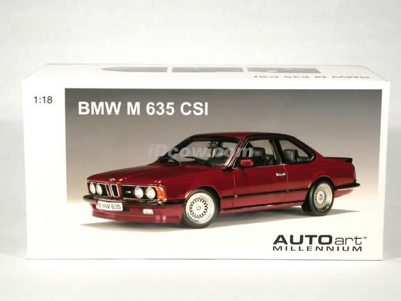 BMW M 635 CSI diecast model car 1:18 scale die cast by AUTOart - Metallic Red