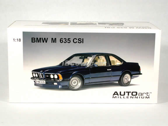 BMW M 635 CSI diecast model car 1:18 scale die cast by AUTOart - Metallic Blue