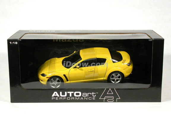 2003 Mazda RX-8 diecast model car 1:18 scale die cast by AUTOart - Yellow LHD