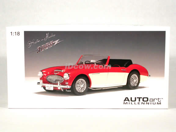 1961 Austin Healey 3000 MK II diecast model car 1:18 scale die cast by AUTOart - Red White RHD