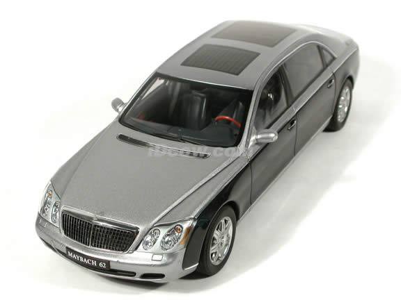 2004 Maybach 62 diecast model car 1:18 scale die cast by AUTOart - Himalayas Grey Bright / Caspian Black
