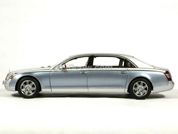 2004 Maybach 62 diecast model car 1:18 scale die cast by AUTOart - Nayarit Silver / Coted Azur Blue Bright
