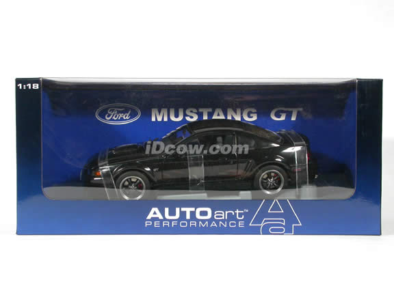 2001 Ford Mustang GT Bullitt diecast model car 1:18 scale die cast by AUTOart - Black