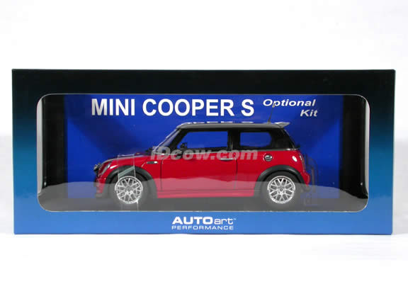 2003 Mini Cooper S Optional Kit diecast model car 1:18 scale die cast by AUTOart - Red