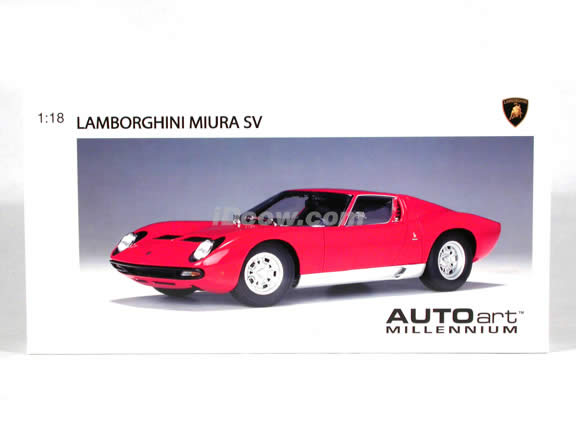 Lamborghini Miura SV diecast model car 1:18 scale die cast by AUTOart - Red