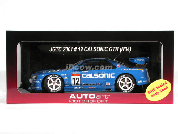2001 Nissan Skyline R34 JGTC Calsonic #12 diecast model car 1:18 scale die cast by AUTOart