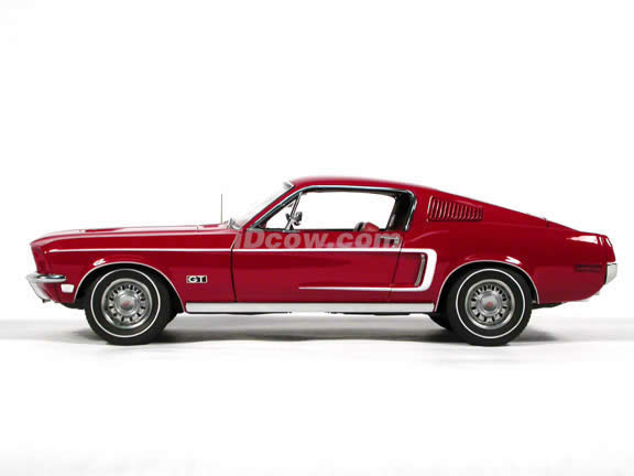 1968 Ford Mustang GT diecast model car 1:18 scale die cast by AUTOart - Red