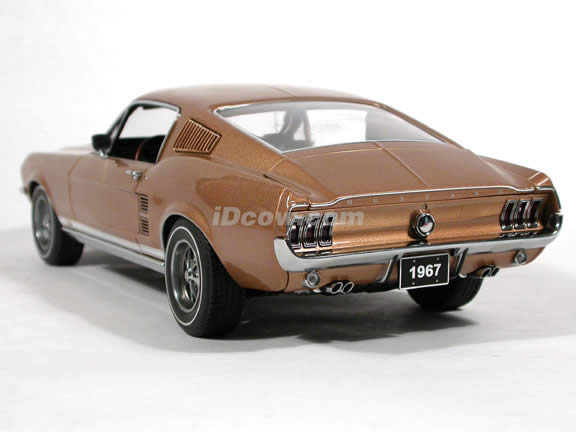 1967 Ford Mustang GT diecast model car 1:18 scale die cast by AUTOart - Gold