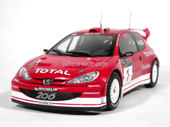 2003 Peugeot 206 WRC #1 diecast model car 1:18 scale die cast by AUTOart -  (Winner of Rally Argentina)