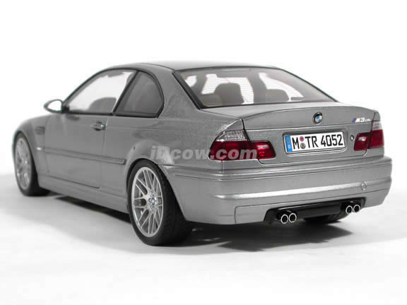 2003 BMW M3 CSL diecast model car 1:18 scale die cast by AUTOart - Steel Grey Metallic