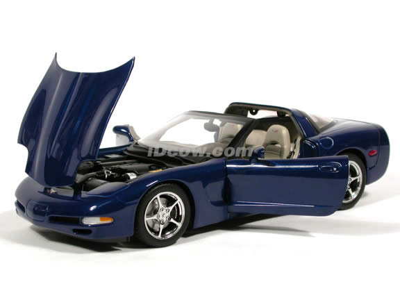2004 Chevrolet Corvette diecast model car Commemorative Edition 1:18 scale die cast by AUTOart - Metallic Blue