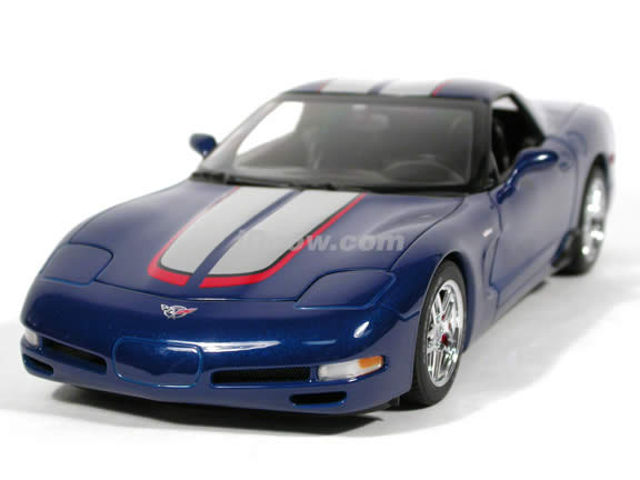 2004 Chevrolet Corvette Z06 diecast model car Commemorative Edition 1:18 scale die cast by AUTOart - Metallic Blue
